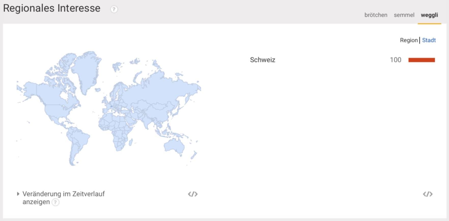 Regionales Interesse des Keywords Weggli in der Schweiz bei Google Trends