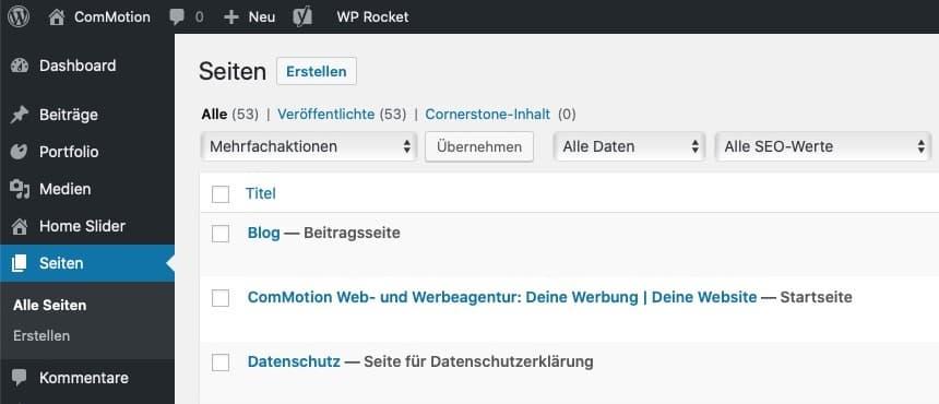 WordPress Backend Seiten